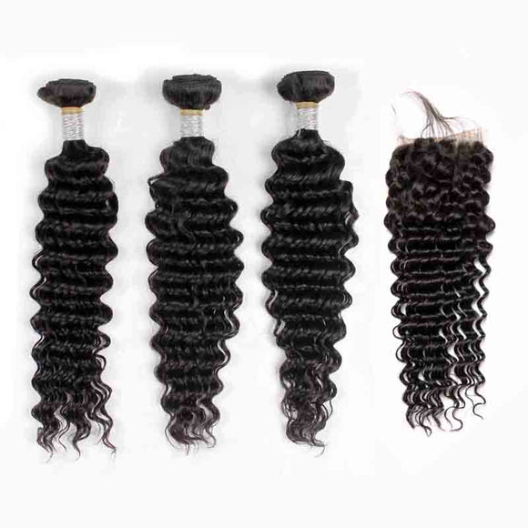 Jesvia Hair Brazilian Hair Deep Wave 3 Bundles With 1 Lace Closure