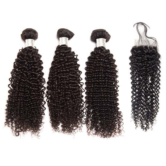 Jesvia Hair Brazilian Hair Kinky Curly 3 Bundles With 1 Lace Closure
