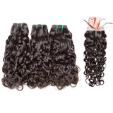Jesvia Hair Brazilian Hair Water Wave 3 Bundles With 1 Lace Closure