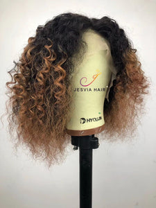Jesvia Hair Ombre 1B/27 Lace Front Curly Bob Wig With Pre Plucked Hairline--CB127