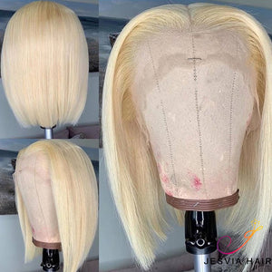 Free Shipping Jesvia Hair Blonde #613 Lace Front Bob Wig With Pre Plucked Hairline Straight