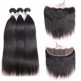 Jesvia Hair Brazilian Straight Hair 3 Bundles With 4x13 Lace Frontal