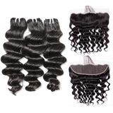 Jesvia Hair Brazilian Loose Deep Wave Hair 3 Bundles With 4x13 Lace Frontal