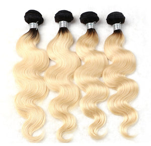 Jesvia Hair 3 Bundles Deal #1B/#613 Ombre Blonde Color Hair Body Wave