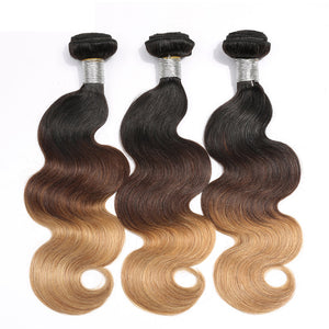 Jesvia Hair 3 Bundles Deal #1B/4/27 3 Tone Ombre Color Hair Body Wave