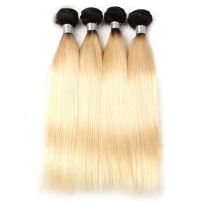 Jesvia Hair 3 Bundles Deal #1B/#613 Ombre Blonde Color Hair Straight