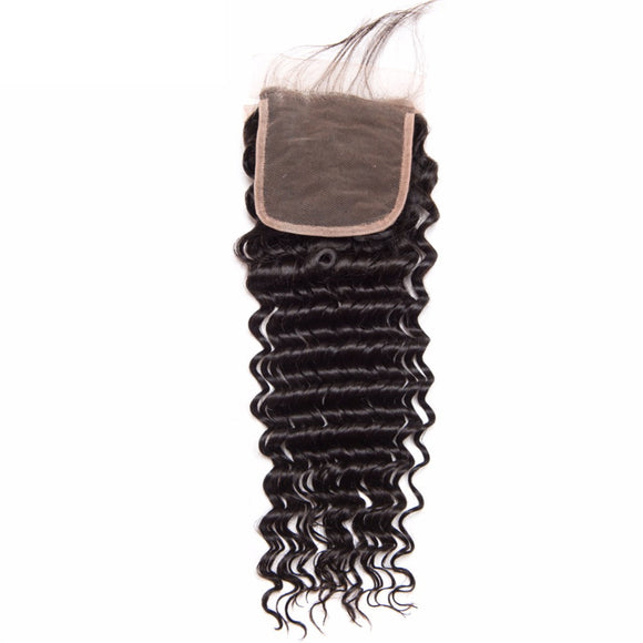 Jesvia Hair Brazilian Virgin hair 4x4 Top Closure Deep Wave