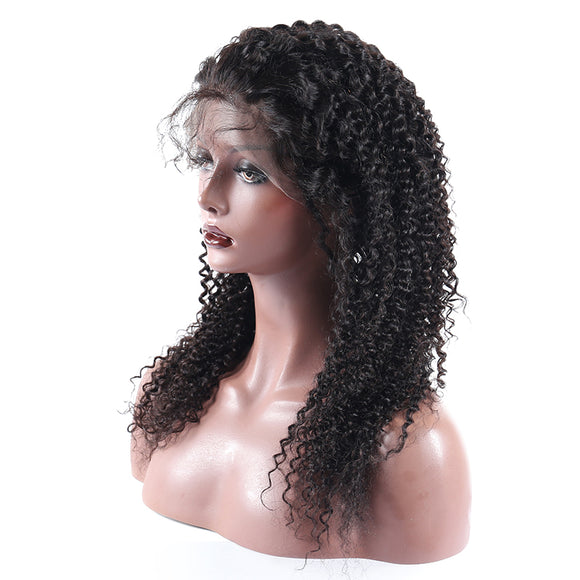 Jesvia Hair Lace Front Human Hair Wigs Pre Plucked with Baby Hair Brazilian Kinky Curly