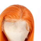 Jesvia Hair Orange Color Lace Front Bob Wig With Pre Plucked Hairline Straight