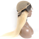 Jesvia Hair Pre Plucked Lace Frontal Wig #1B/#613 Ombre Blonde Color with Baby Hair Around Straight