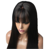 Jesvia Hair Lace Front Human Hair Wigs Pre Plucked with Bang Brazilian Straight