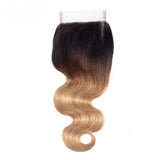 Jesvia Hair Brazilian Virgin hair 1B/4/27 Tone Ombre 4x4 Top Closure Body Wave