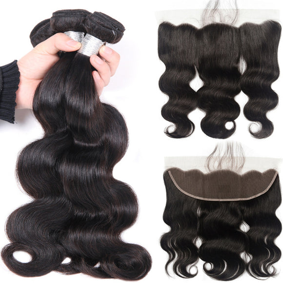 Jesvia Hair Brazilian Body Wave Hair 3 Bundles With 4x13 Lace Frontal