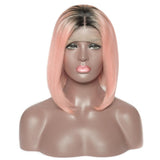Jesvia Hair Pink Ombre Color Lace Front Bob Wig With Pre Plucked Hairline Straight