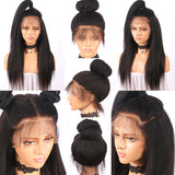 Jesvia Hair Lace Front Human Hair Wigs Pre Plucked with Baby Hair Brazilian Kinky Straight