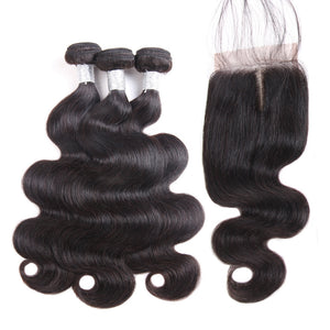 Jesvia Hair Brazilian Hair Body Wave 3 Bundles With 1 Lace Closure