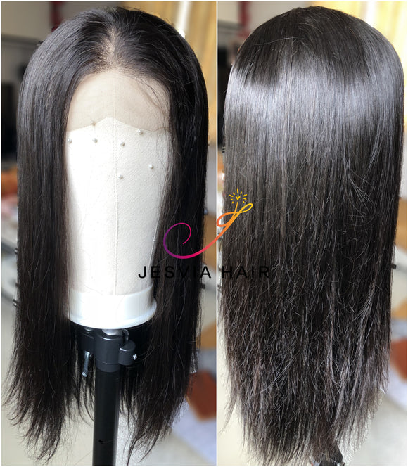 Jesvia Hair 250% Density 360 Pre Plucked Lace Frontal Wig with Baby Hair Around Straight-STW360