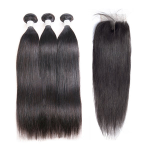 Jesvia Hair Brazilian Hair Straight 3 Bundles With 1 Lace Closure
