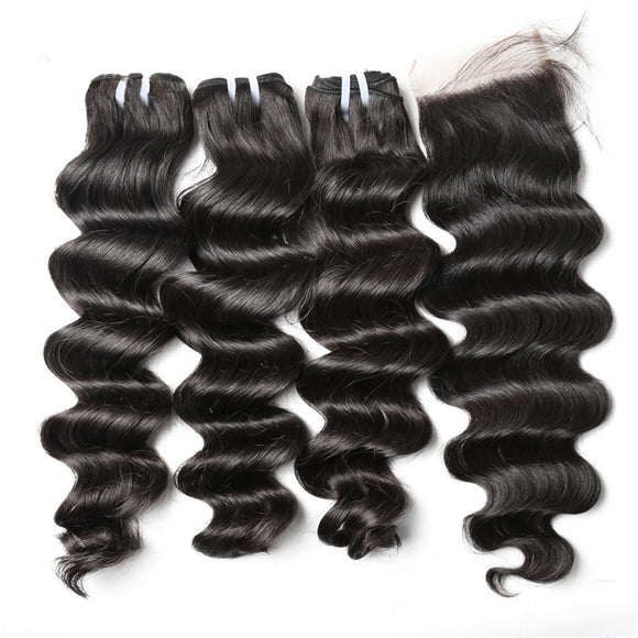 Jesvia Hair Brazilian Hair Loose Deep Wave 3 Bundles With 1 Lace Closure-LBW44