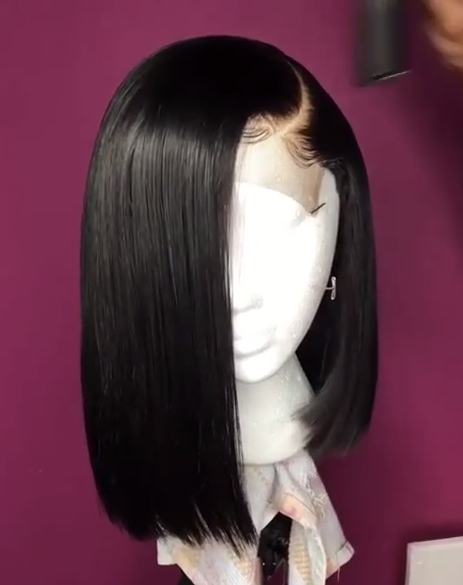 Free Shipping 4x4 Closure Bob Wig With Pre Plucked Hairline Straight Jesvia Hair