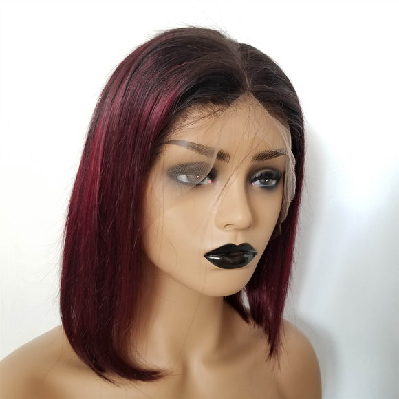 1B/99J Ombre Wine Red Color Lace Front Bob Wig With Pre Plucked Hairline Straight