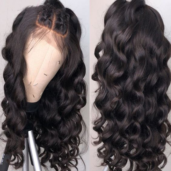 Jesvia Hair 250% Density 360 Pre Plucked Lace Frontal Wig with Baby Hair Around Loose Wave