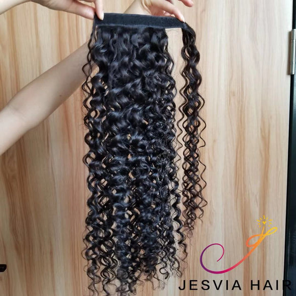 Ponytail Piece Water Wave Brazilian Virgin hair Jesvia Hair