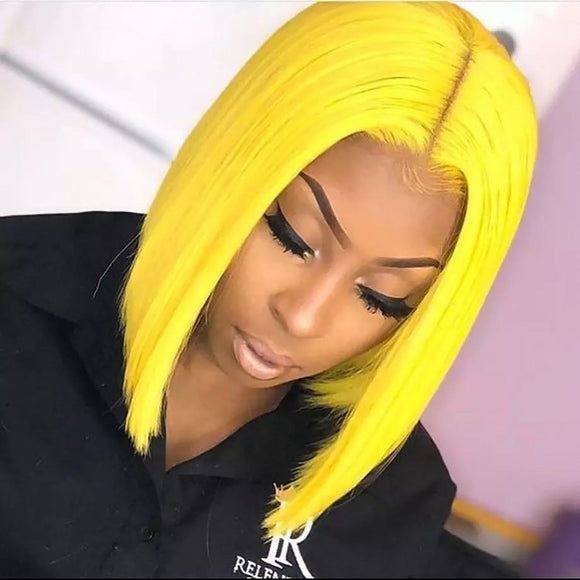 Yellow Color Lace Front Bob Wig With Pre Plucked Hairline Straight Jesvia Hair