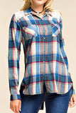 Plaid button-up with inset lace yoke, in Blue