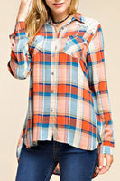 Plaid button-up blouse with lace inset yoke, in Orange