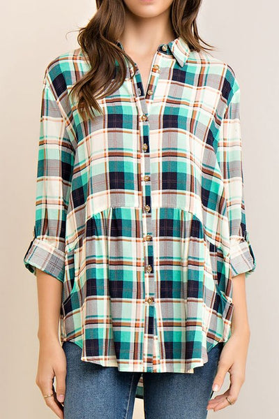 Plaid Button-up Long-Sleeve Blouse with Peplum, Mint or Red