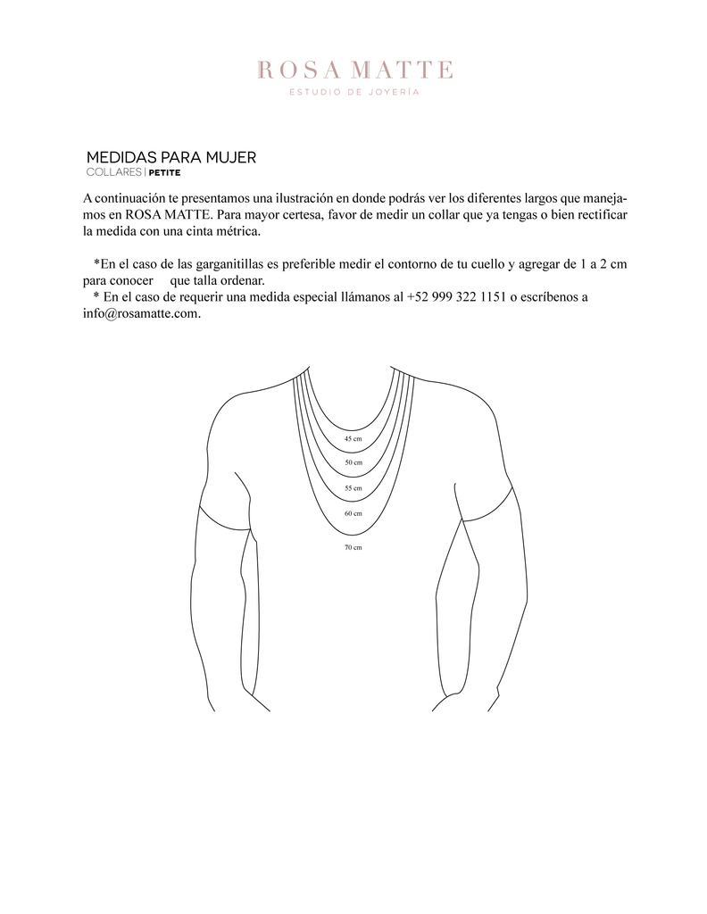 Size chart: Necklaces Man | Rosa Matte Jewelry