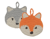 Cotton Tawashi Fox Dish Sponge - Set of 2