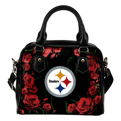 Valentine Rose With Thorns Pittsburgh Steelers Shoulder Handbags