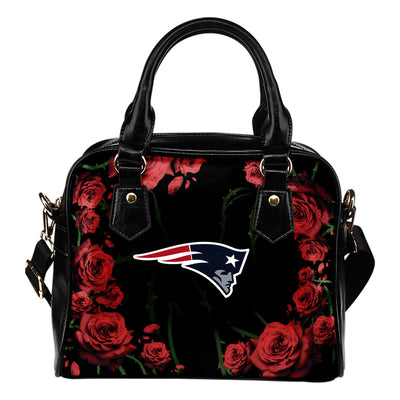 Valentine Rose With Thorns New England Patriots Shoulder Handbags