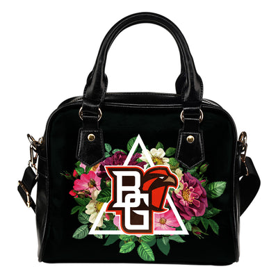 Floral Rose Valentine Logo Bowling Green Falcons Shoulder Handbags