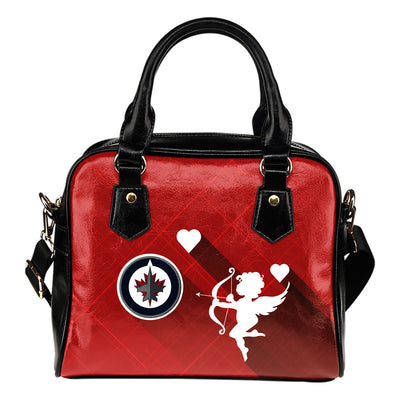 Superior Cupid Love Delightful Winnipeg Jets Shoulder Handbags