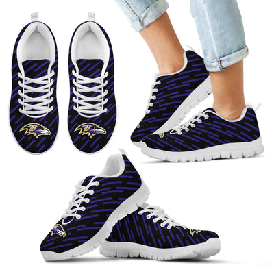Marvelous Striped Stunning Logo Baltimore Ravens Sneakers