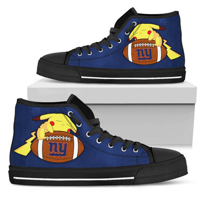 Pikachu Laying On Ball New York Giants High Top Shoes