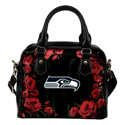 Valentine Rose With Thorns Seattle Seahawks Shoulder Handbags