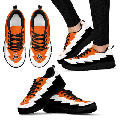Custom Printed Miami Marlins Sneakers Jagged Saws Creative Draw