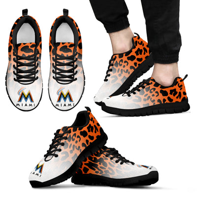 Leopard Pattern Awesome Miami Marlins Sneakers