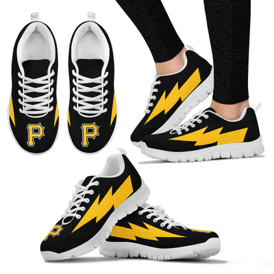 Cute Style Pittsburgh Pirates Sneakers Thunder Lightning Amazing Logo