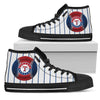 Straight Line With Deep Circle Texas Rangers High Top Shoes