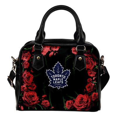 Valentine Rose With Thorns Toronto Maple Leafs Shoulder Handbags