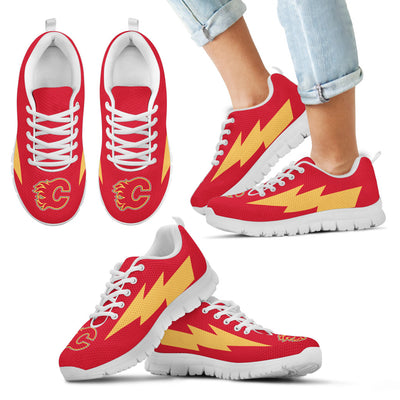 Cool Style Calgary Flames Sneakers Thunder Lightning Amazing Logo