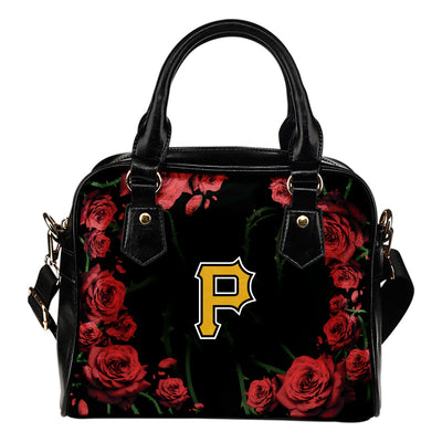 Valentine Rose With Thorns Pittsburgh Pirates Shoulder Handbags