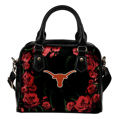 Valentine Rose With Thorns Texas Longhorns Shoulder Handbags