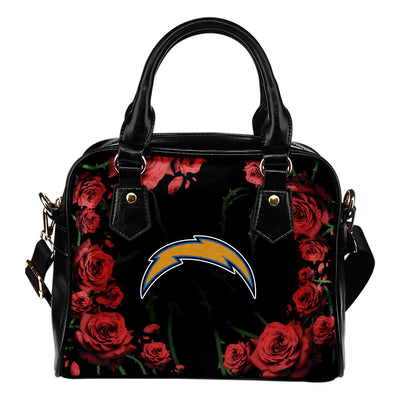 Valentine Rose With Thorns Los Angeles Chargers Shoulder Handbags