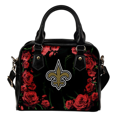 Valentine Rose With Thorns New Orleans Saints Shoulder Handbags
